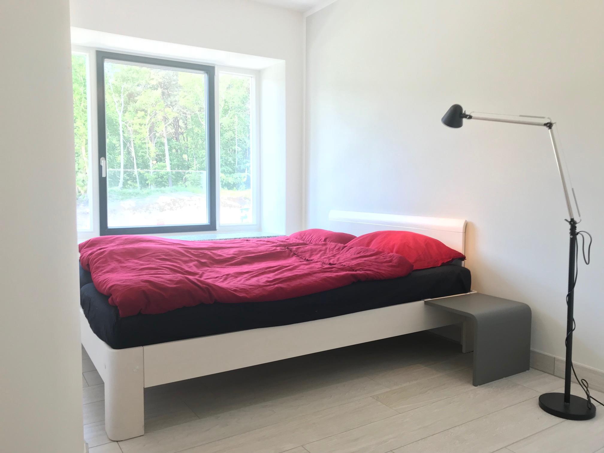 Schlafzimmer im Auping Auronde Designer-Doppelbett 160x200cm, Verdunklungsplissees vorhanden